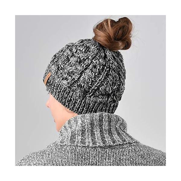 81e21bfaf Women Hat Knit Skull Beanie Winter Outdoor Runner Messy Bun Ponytail Cap