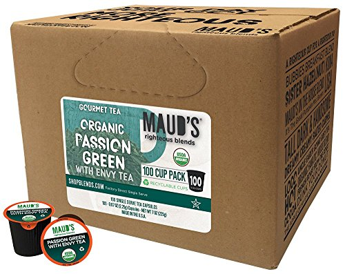 Maud's Gourmet Tea Pods - Passion Green with Envy Tea, 100-Count Recyclable Single Serve Pods - Carefully Sourced & Blended - Sealing in the Freshness - Kcup Compatible, Including ()
