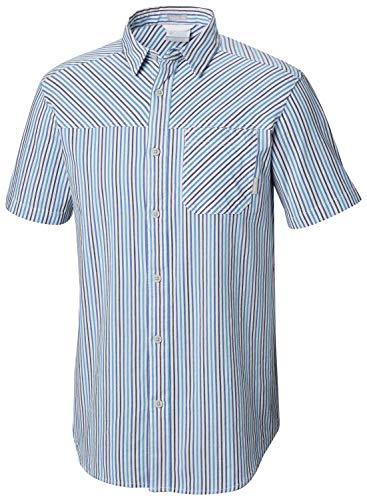 (Columbia Men's Thompson Hill Yarn Dye Short Sleeve Shirt, Azul Stripe M)