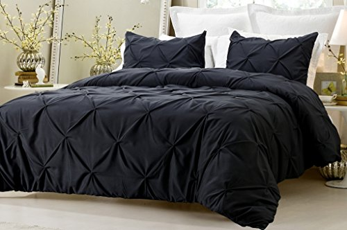 3pc Pinch Pleat Design Black Duvet Cover Set Style # 1006 - Full/Queen - Cherry Hill