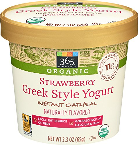 365 Everyday Value, Organic Strawberry Greek Style Yogurt Instant Oatmeal, 2.3 Ounce