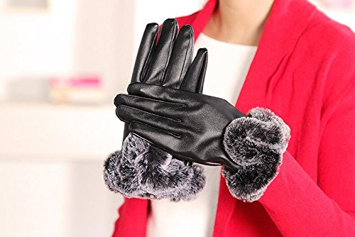 Generic Simple versatile,_rabbit hair Outdoor_Cycling_antifreeze_ winter _plus_velvet_warm_touch_screen_plate_ leather glove gloves women girls