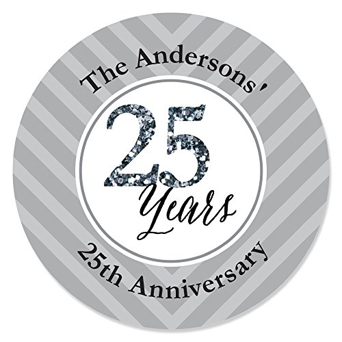 Big Dot of Happiness Custom We Still Do - 25th Wedding Anniversary - Personalized Anniversary Party Circle Sticker Labels - 24 Count]()