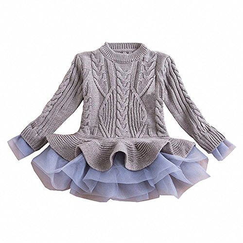 Generic Girls Ruffle Sweater Long Sleeves Tutu Dresses Stitching Knitting Pullover Tops for Kids (Gray,120)