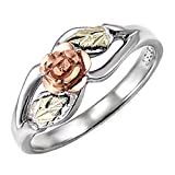 Blooms Rose Flower Diamond-Cut Ring, Sterling Silver, 12k Green and Rose Gold Black Hills Gold Motif, Size 3