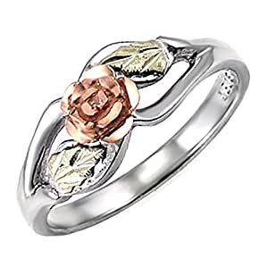 Blooms Rose Flower Diamond-Cut Ring, Sterling Silver, 12k Green and Rose Gold Black Hills Gold Motif, Size 2