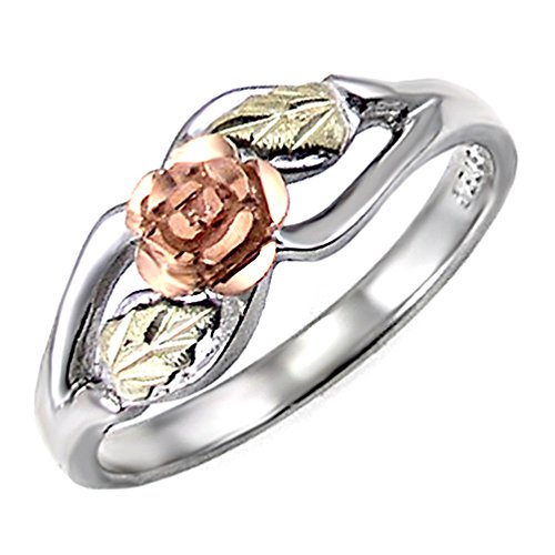 Blooms Rose Flower Diamond-Cut Ring, Sterling Silver, 12k Green and Rose Gold Black Hills Gold Motif, Size 3 by Black Hills Gold Jewelry