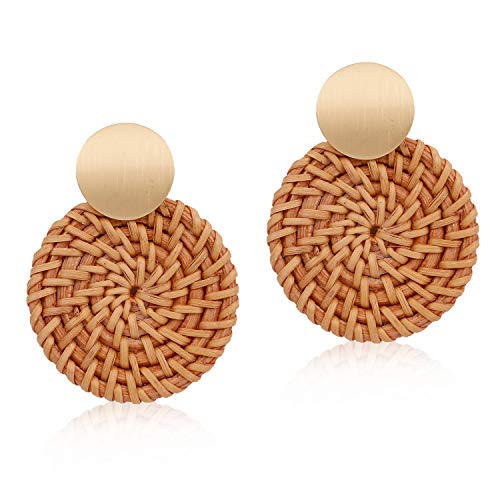 Handmade Woven Rattan Earrings Bohemian Classical Braid Straw Wicker Round Disc Drop Dangle Statement Earrings for Women Girls Mother's Day Gifts - Disc Drop Round
