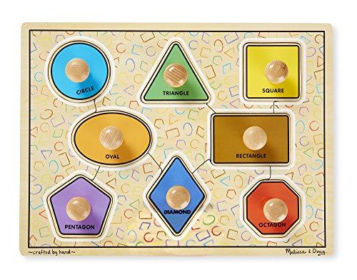 - Melissa & Doug Deluxe Jumbo Knob Wooden Puzzle - Geometric Shapes (8 pcs)