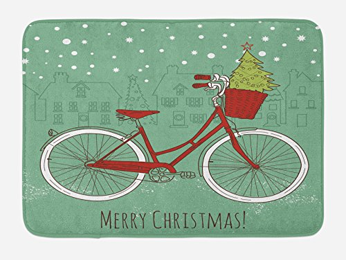 Christmas Bath Mat by Ambesonne, Hand Drawn Vintage Bike wit