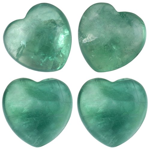 (rockcloud Healing Crystal 0.8 inch Green Fluorite Heart Love Carved Palm Worry Stone Chakra Reiki Balancing Mini Size(Pack of 4))