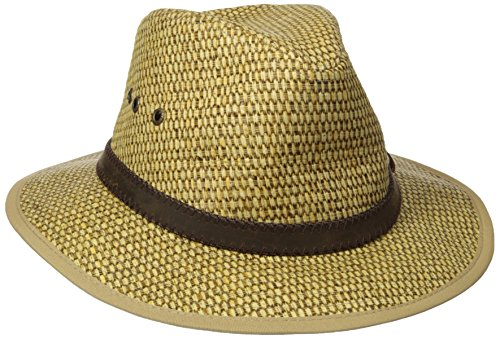 [Stetson Men's Matte Fabric Safari Hat, Brown, Medium] (Straw Safari Hat)