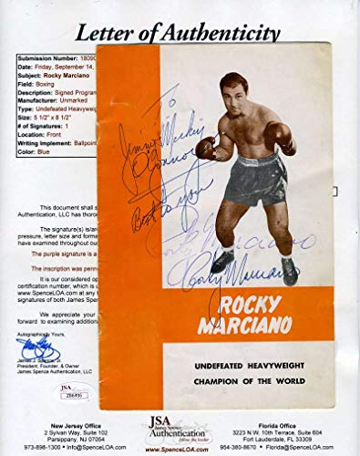 ROCKY MARCIANO JSA Coa Autograph Training Camp Program Hand Signed