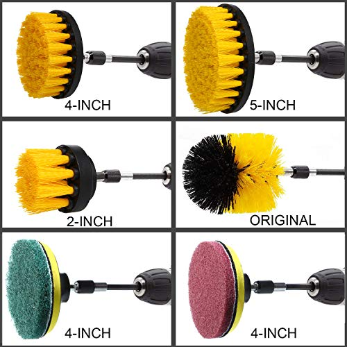 QUIENKITCH SET/12Piece Drill Brush & Scrub Pads, Power Drill Scrub Brush Attachments with Drill bit Extender for Grout, Tiles, Sinks, Bathtub, Bathroom, Shower & Kitchen Surface by QUIENKITCH (Image #2)