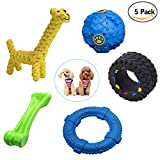 Way&Wil Dog Chew Toy [5 Pack], Indestructible Chewing Bone Interactive Treat Ball Bonus Giraffe Rope Toy for Small Dogs