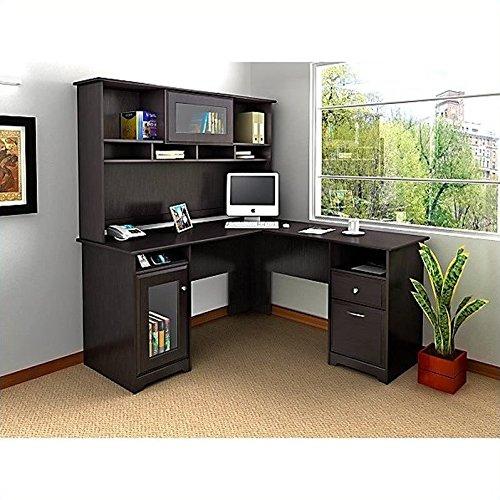 Cabot L Shaped Desk with Hutch in Espresso Oak