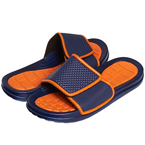 (Skysole Boys Rugged Vlelcro Closure Slide Sandals Orange C 11/12 US Little Kid)