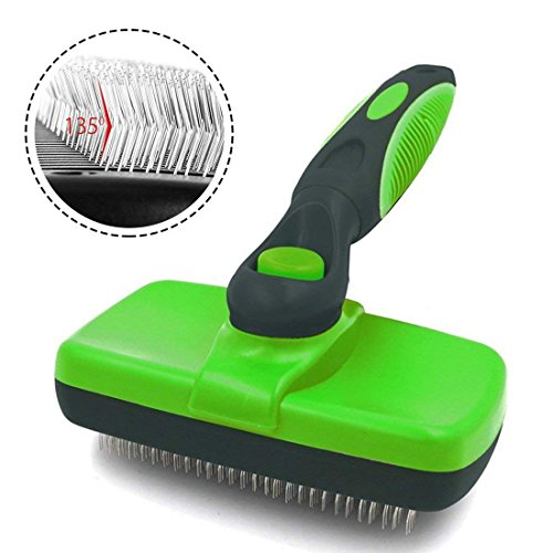FAOUGESS Pet Brush Dog Self Cleaning Slicker Brush Cat Grooming Reduce Shedding Loose Hair Remover Tool Professional Comb For Short Long Thick Small Large Dog & Cat Hair(Green)