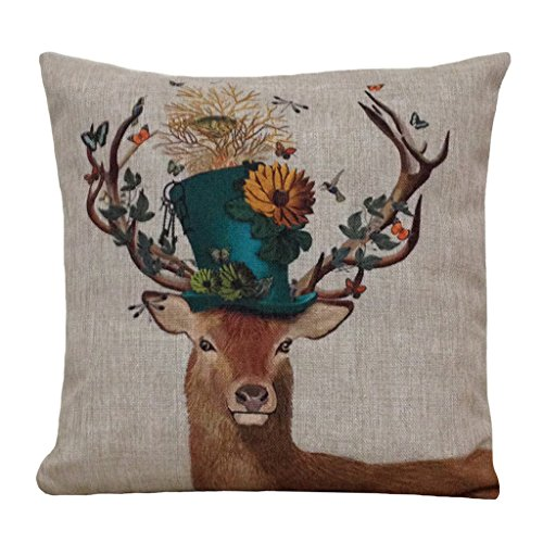 (Aeneontrue Decorative Pillow Cover Throw Cushion Covers with Deer Animal Printed Cotton Linen Square Pillow Covers 18 x 18 Style1)