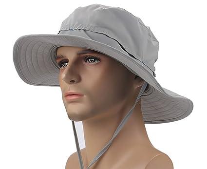 8b5cad26c2 Amazon.com   Sun Hats for Women - Sun Hat for Men - Wide Brim Hat - Floppy  Hats - Summer Hat(Light Grey)   Sports   Outdoors
