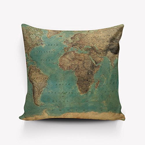 URDER Throw Pillowcase Covers/Euro Sham/Cushion Sham with Zipper, Luxury Linen Square Pillow Cases for Sofa/Bed/Chair Decor, Vintage World Map Route Green - (Euro Map)