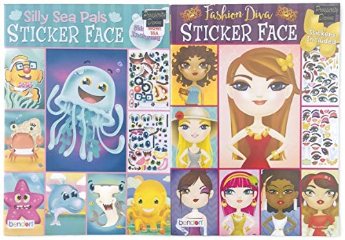 PROSPERITY DEVINE Silly SEA PALS and Fashion Diva Sticker FACE Activity Books for Kids, Teens and Adults (2 Books)