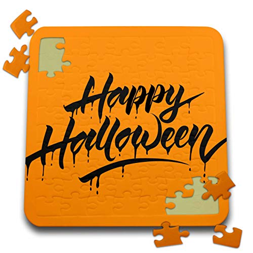 3dRose Sven Herkenrath Celebration - Scary Happy Halloween Quotes with Orange Background - 10x10 Inch Puzzle (pzl_294690_2) -