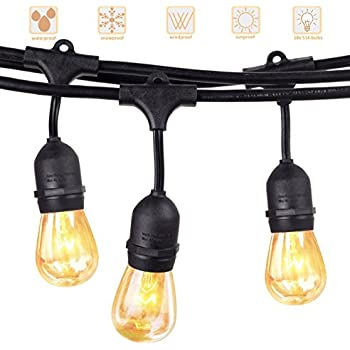 Outdoor commercial string lights amlight 24 ft heavy duty led outdoor string lights akaph heavy duty commercial weatherproof globe strands 48 feet long with 15 hanging dropped sockets 18 led bulbs workwithnaturefo