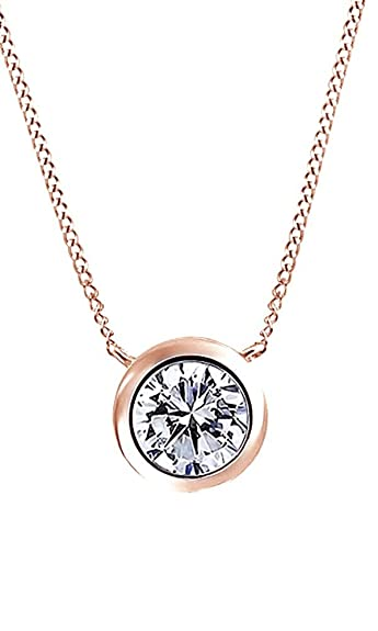 Amazon 05 ct round cubic zirconia solitaire pendant necklace amazon 05 ct round cubic zirconia solitaire pendant necklace in 14k rose gold over sterling silver jewelry aloadofball Image collections