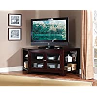 1PerfectChoice Namir Contemporary Corner TV Stand Entertainment Table Side Shelves Espresso