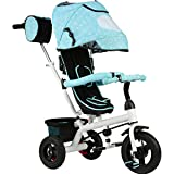 QXMEI Children's Tricycle Bicycles Do Not Need Inflatable Baby Stroller Baby Bicycle 1 To 5 Years Old With Awning,Blue