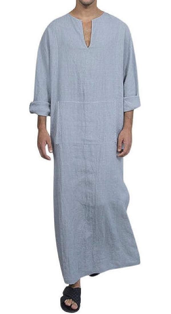 CRYYU Men Plus Size Long Sleeve Muslim Solid Color Cotton Kaftan Robe T-Shirt Tee