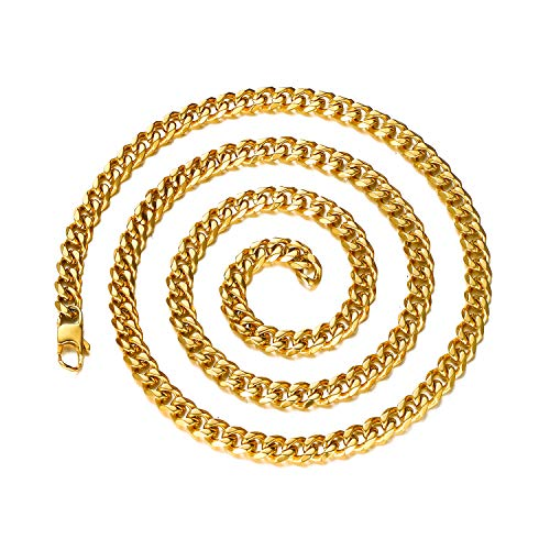 """DODIY 6 mm Cuban Chain Necklace - Hip Hop Miami 18K Gold Stainless Steel Link Chain Cuban Necklaces for Men Jewelry 20"""" inch"""