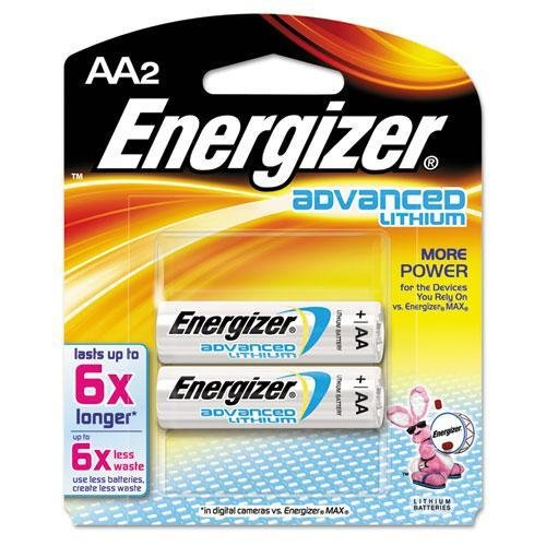 - EVEREADY BATTERY EA91BP2 Advanced Lithium Batteries, AA, 2/Pack