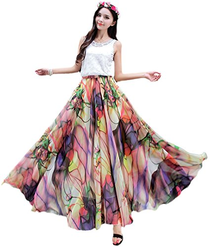 - Medeshe Women's Chiffon Floral Print Elasticated Waist Maxi Skirt(Tropical Color, Small)