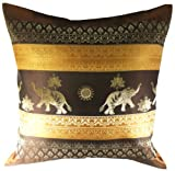 Rare Unique Art Vintage Asian Oriental Thailand Home Decorative Pillowcase Elephant Light Brown Gold Color