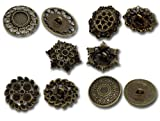 Rockin Beads Brand, Mixed Antique Brass Fillagree Sewing Metal Buttons 1 to 1-1/4 Inch 23-28mm, Sold Per Pack of 50