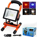 LETOUR LED Floodlight 1800Lumens Portable Spot Light 15Watts Superbright USB Rechargeable Outdoor Waterproof Car Emergency Security Warning Strobe Light,Orange