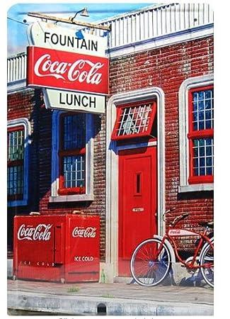 La fuente de almuerzo de la coca-cola, Metal muestra de la ...