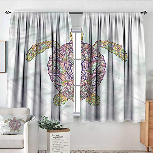 RenteriaDecor Ethnic,Room Darkening Curtains Tribal Shell of a Turtle 104