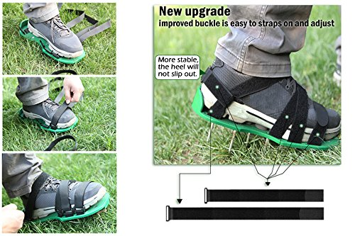 MAXTID Upgraded Lawn Aerator Shoes - with 10 Adjustable Cinch Straps, Heavy Duty Lawn Spiked Soil Sandals for Aerating Your Garden or Yard (1 Pair) Universal Size by MAXTID (Image #3)