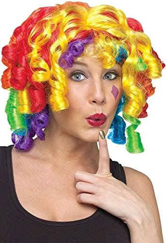 Ladies Rainbow Multi Coloured Curly Clown Circus Fancy Dress Costume Outfit -