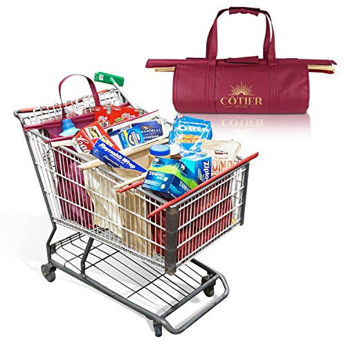 Cotier Brand Trolley Bag Shopping Cart System w/ Large Insulated Cooler Grocery Bag | Fits USA Standard & Warehouse Club Shopping Carts | Eco-Friendly Heavy Duty 4 Bag - Warehouse Shopping