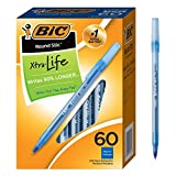BIC Round Stic Xtra Life Ballpoint Pen, Medium Point (1.0mm), Blue, 60-Count: more info