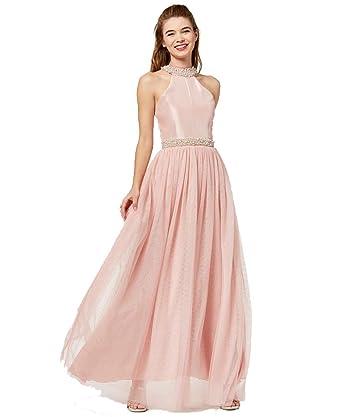 c379f9d4dd Amazon.com: Speechless Juniors' Imitation-Pearl Halter Gown: Clothing
