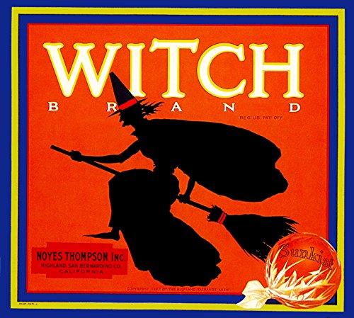 Highland San Bernardino County California Witch Brand Orange Citrus Fruit Crate Box Label Art Print Vintage Travel Advertisement Poster