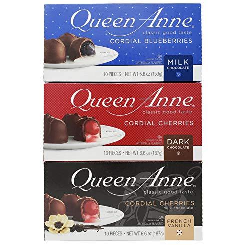 Queen Anne Cordial Cherries, Milk or Dark Chocolate Cherries - French Vanilla Cordial Cherries, Milk Chocolate Cordial Blueberries, Covered, 6.6 Ounces (10 Count Box, Pack of 3)