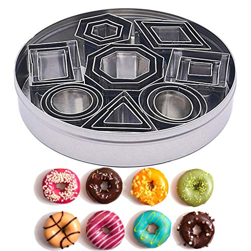 Mini Cookie Cutter set - 24 Pieces Nesting Stainless Steel Geometric Shape Fondant Cutters Molds for Mousse, Donuts, Chocolate, Fondant, Donut and Muffins - Include Storage Container Tin