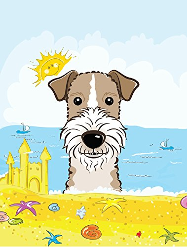 Terrier Wire - Caroline's Treasures BB2115GF Wire Haired Fox Terrier Summer Beach Garden Flag, Small, Multicolor