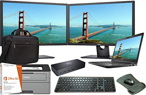 Pack Complete Small Package Office - Latitude 5590 Laptop Complete Office Bundle, Intel i5-8250U Quad Core, 8GB RAM, 500GB SSD, Windows 10, Office 365, Printer, Dual FHD Monitors, Docking, Keyboard, Mouse, 3 Years Warranty